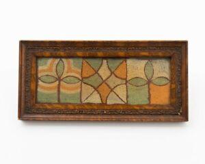 "Mid-Century Modern Framed Woven Textile Wall Art Orange Green & Yellow 10.75"""