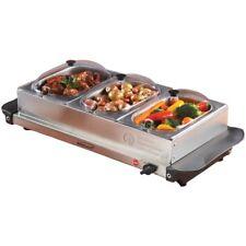 Buffet Server Stainless Steel 3 Tray Warming Pans Sideboard Food Triple Bin