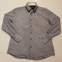 Connor Mens Size Large Slim Fit Button Front Shirt Collared Blue White -SC22