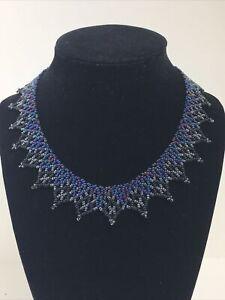 "Handmade Artisan Seed Bead Beaded Navy Blue Necklace 8"""