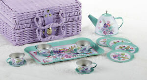 "2020 Children's Tin Tea Set for 4-Medium Size ""Ferns"" & Purple Basket #8002-4"