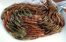 """12.5"""" AAA PETROL TOURMALINE faceted gem stone rondelle beads 3mm gold green"""