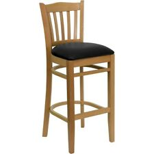 Flash Wood Restaurant Bar Stool, Black, Natural - XU-DGW0008BARVRT-NAT-BLKV-GG