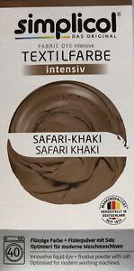 "Simplicol Textilfarbe intensiv all in 1 -Flüssige Rezeptur ""Safari-Khaki""Neu!"
