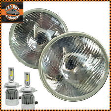 "7"" Classic Car Halogen Headlight Headlamps With Pilot Pair + H4 LED Bulbs"