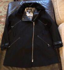 Barbour International Ladies Black Streak Buell Wool Trench Coat US 12 UK 16