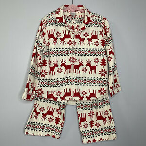 Hanna Andersson Dear Deer Flannel Pajamas Set 2 Girls 5 Cream and Red