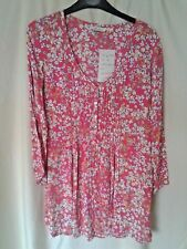 Adini 100% viscose moss crepe tunic pintuck button front v neck 3/4 sleeves