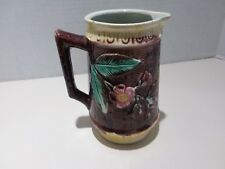 Antique Majolica Wild Rose Pitcher Basketweave Pattern Yellow Bands