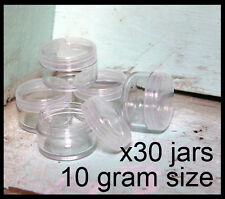 30 x 10g CLEAR LIP BALM JARS containers pots - brand new plastic screw top lid