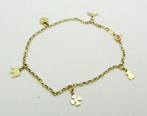 "Real 14k Yellow Gold Travel Charm Style Bracelet Anklet  8"" long 2.7 grams"