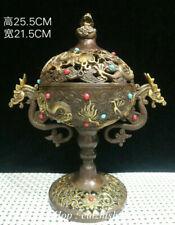 """10"""" Chinese Palace Bronze Gilt Gemstone Feng Shui Dragon incense burner Censer"""