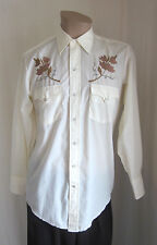 KARMAN Vintage Ivory Embroidered Western Rodeo Pearl Snap Shirt Size 15 1/2 - 33