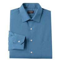 New Arrow Men Classic-Fit Poplin Spread-Collar Dress Shirt Danish Blue MSRP $45