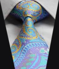 Mens Blue Tie & Green Purple Grey Yellow Floral Wedding Floral Paisley