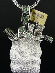 Mens Xl Money Bag Green Diamond Pendant 10K 3.0 Ct
