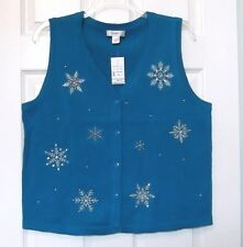 CJ Banks Size X 14W Teal sweater vest, snowflake designs, button front, NWT