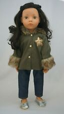 "Gotz Hannah army green coat fits other skinny 18"" dolls"