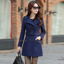 Women's Double Breasted Wool Trench Coat Slim Long Jacket Warm Overcoat Outwear