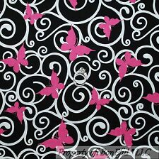BonEful FABRIC FQ Cotton Quilt Black White B&W Pink BUTTERFLY Breast Cancer Dot