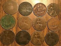 LOT OF 12 UK GREAT BRITAIN HALF PENNY LOT OF 12 COINS