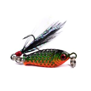 6.5g/2.5cm artificial Bait With Feather Metal wobbler fishing For carp fishing