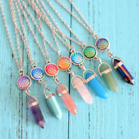 Women Fish Scale Necklace Natural Geometric Crystal Pendant Simple Jewelry