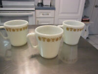 Vintage 70s Pyrex Butterfly Gold Milk Glass Coffee Tea Cup Mugs Lot of 3