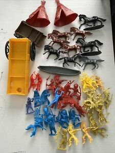 Vintage Mixed Lot Of Plastic Cowboys & Indians Horses Toys Teepees And More