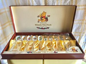 Disney Winnie The Pooh Cloisonne Gold plating 10 Spoon & fork cutlery set Japan