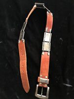 Vintage Leather Belt With Silver Plate Panels Made In Spain Size 30