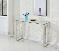 Modern Rectangle Glass Top Steel Frame Designer Console Table Lounge Living Room