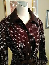 Vintage 1960's ladies brown dress jacket with button front and tie in front