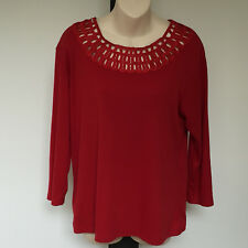 'NONI B' EC SIZE 'L' RED COTTON BLEND 3/4 SLEEVE TOP WITH NECK LACE BORDER