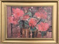 UNBEKANNTER EXPRESSIONIST - ROTE BLUMEN - RED FLOWERS 1967 STIL LIFE 42 X 56 CM