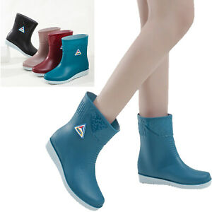 Shiny Rain Boots Womens Waterproof Shoes Round Toe Walking Rubber Wellington UK