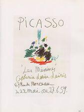 """1989 VINTAGE """"PICASSO LES MENINES '59"""" MOURLOT COLOR offset Lithograph"""