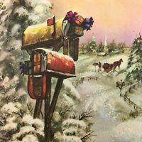Vintage Mid Century Christmas Greeting Card Glitter Mailbox Stuffed Full Gifts