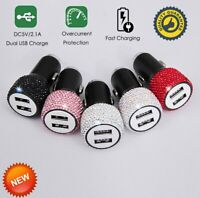 2 in 1 Fast Charging Car Charger Dual USB Port  Rhinestones Diamond Adapter NEW