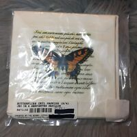 New The Bombay Co Butterflies Cktl Napkins Set Of 4 100% Cotton Made In Canada
