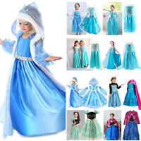 Girls Cartoon Elsa Anna Princess Dress Kids Cosplay Costume Fancy Party Dress