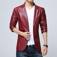 Men's Lapel Blazer Leather Jacket Slim fit Casual 5 Colors Coat Spring Buttons