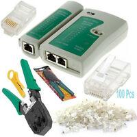 Ethernet Network RJ45 Cat5e Cat6 Cable Tester / Crimping Tool / 100x Connectors