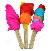 Hand Made Colorful Belly Dance Dancing Silk Bamboo Long Fans Veils 3 Colors