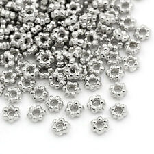 500pcs Metal Spacer Beads Flower Silver Tone 3.5mmx3.2mm Jewelry Making