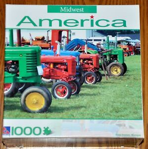 """1000 Piece Midwest America Jigsaw Puzzle """"Farm Tractors, Michigan"""" used"""