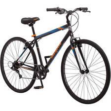 700C Mongoose Hotshot Men's Bike, Black Orange Urban Steel Frame Kickstand Alloy