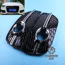 2Pcs Front Bumper Chrome Fog Light Grille Cover For AUDI Q3  2013+ Facelift