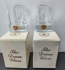 More details for burns hand cut crystal dram shot glass set 2 square design made in scotland rare