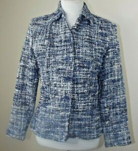COLDWATER CREEK Blue Tweed Button Up BLAZER JACKET - Size 6P 6 Petite